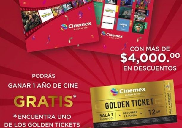 Calendario Cinemex 2020 Golden Ticket: Gana 1 de 100 premios de cine gratis por 1 año