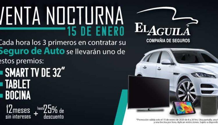 Venta Nocturna El Águila 15 de enero: Gana Smart TVs de 32″, tablets o bocinas cada hora
