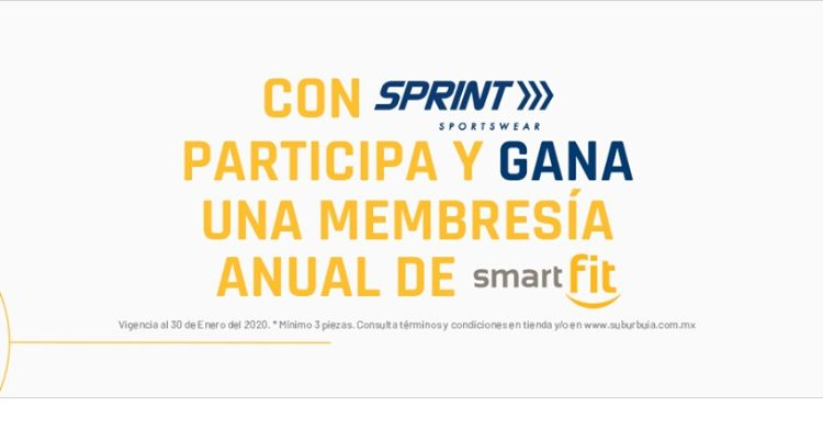 Concurso Suburbia Sprint: gana 1 de 10 membresías anuales Smart Fit con valor de $5,000