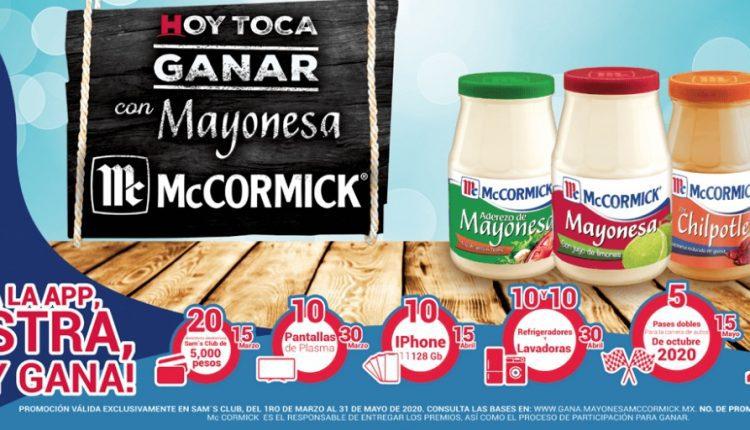 Concurso Sams Club Mayonesa McCromick: Gana viajes a Paris, iPhones 11, pantallas y más en gana.mayonesamccormick.mx
