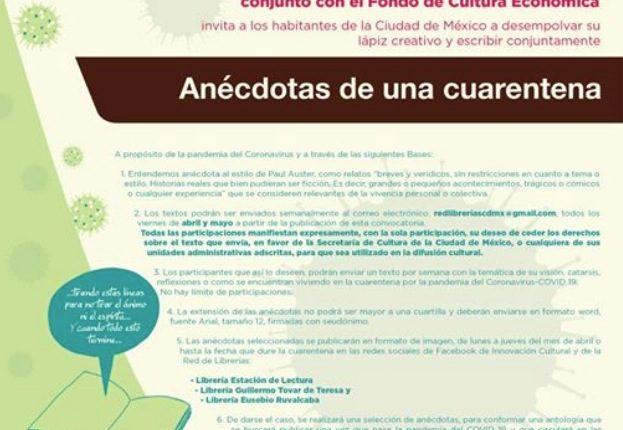 Concurso Secretaría de Cultura Anécdotas de una Cuarentena: Gana tu relato en una antología acerca del Covid-19