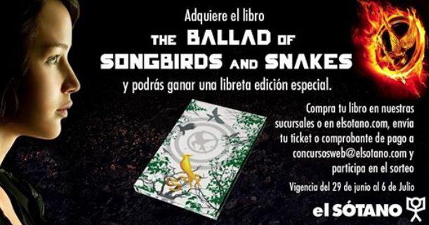 """Concurso El Sótano Juegos del Hambre: Gana una libreta edición especial del libro """"The Ballad of Songbirds and Snakes"""""""