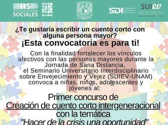 Concurso de Cuento Corto Intergeneracional SUIEV UNAM 2020: Gana de $1,000 a $3,000 pesos
