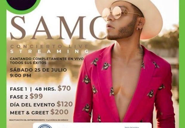 Gana accesos para el concierto streaming de Samo en el concurso de Plaza Universidad
