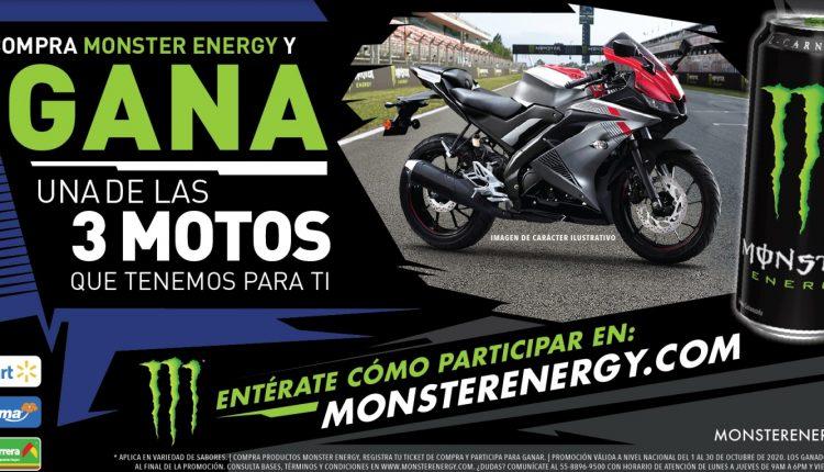 Promo Monster Energy Walmart, Superama y Bodega Aurrerá: Gana una moto Yamaha R15
