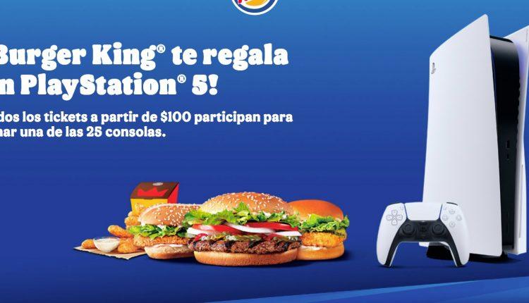 Promoción Burger King PlayStation 5: Registra tu ticket y gana 1 de 25 consolas PS5 en burgerkingplay.com.mx