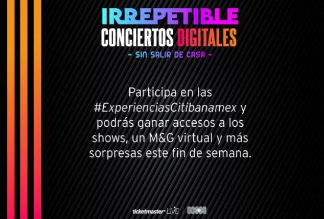 Concurso Experiencias Citibanamex: Gana boletos y meet & greet virtuales con artistas