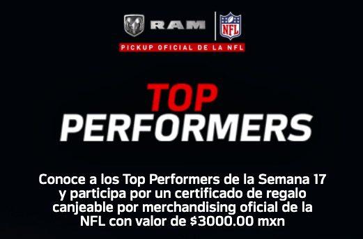 Concurso RAM NFL Top Perfomers: Gana certificado de regalo de $3,000