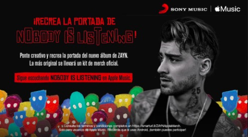 Concurso Sony Music Nobody is Listening: Gana un kit de merch de Zayn