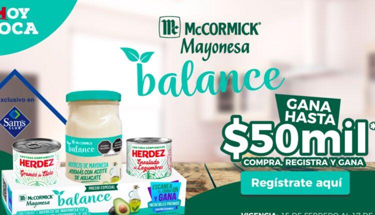 Promoción Sams Club McCormick Balance: Gana hasta $50,000 en gana.mayonesamccormick.mx