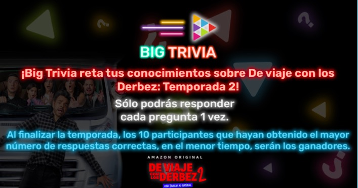 Big Trivia Totalplay De viaje con los Derbez 2: Gana 1 de 10 tarjetas Amazon de regalo