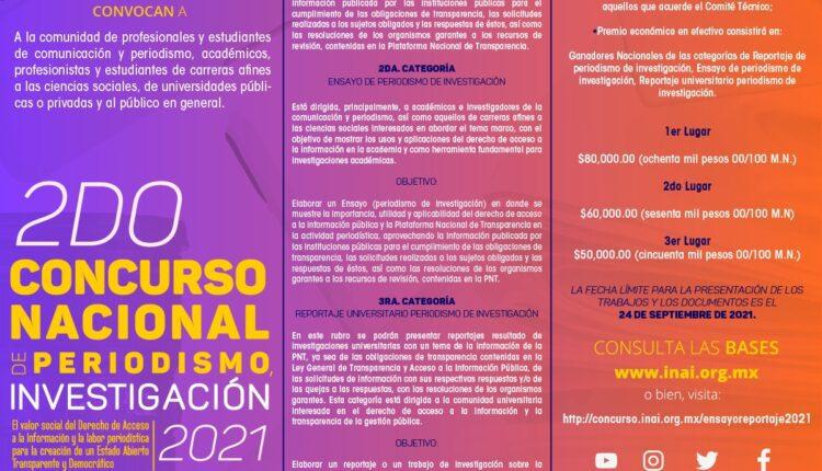 Concurso Nacional de Periodismo de Investigación INAI 2021: Gana hasta $80,000 pesos