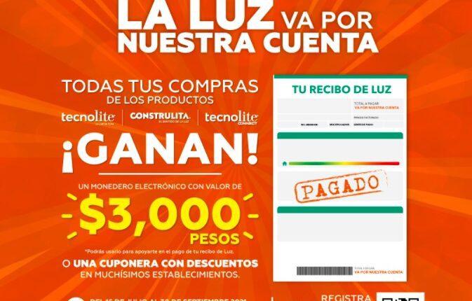 Promoción Tecnolite la Luz va por Nuestra Cuenta: Gana monedero de $3,000 y más