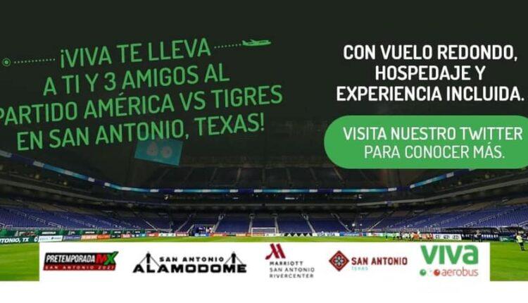 Concurso Viva Aerobus: Gana viaje cuádruple al partido del América vs. Tigres en San Antonio, Texas
