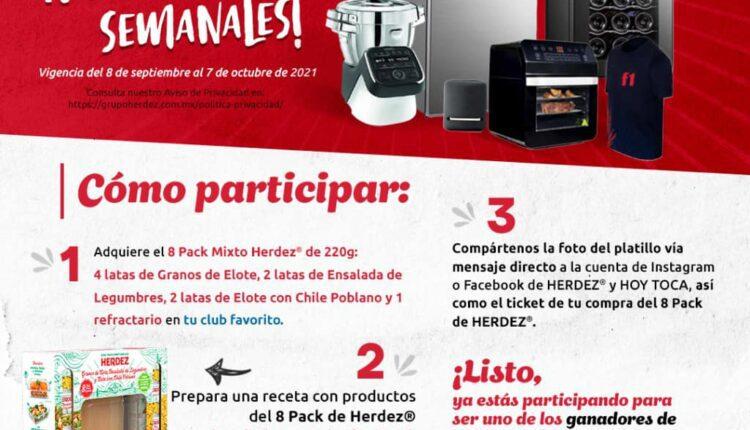 Promoción Hoy Toca Ganar con Herdez: Gana frigobar, robot de cocina, boletos para la Formula 1 y más