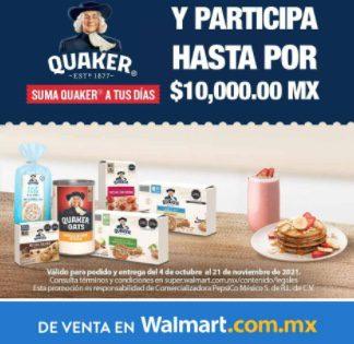 Promoción Quaker y Walmart Suma a tus Días: Gana monederos de hasta $10,000