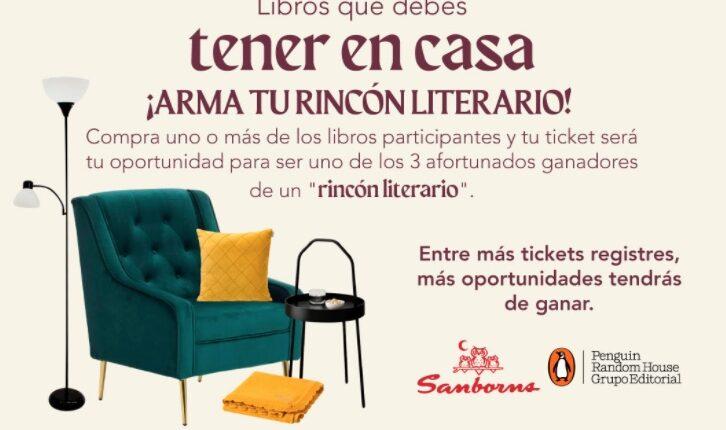 Concurso Sanborns y Penguin: Gana 1 de 3 rincones literarios con sillón, mesita, lámpara y más